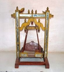 18th C Ancient Wood Glass Hand Carved Paint Hindu Religious Rare Swing Temple