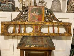 17th C Antique Wood Hand Carved Painting Of Radha Krishna God Cow Bed Panel Rare