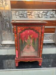 Antique Wooden Mughal King Queen Painted Bar Cabinet Liquor Wine Cabinet Rare