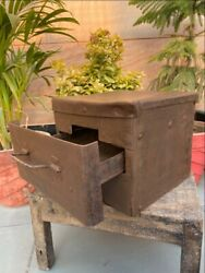 Antique Rare Unseal Iron Hand Forged One Drawer Trunk Box Merchant Money Box