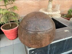 1700and039s Ancient Primitive Stone Hand Carved Mughal Period Floral Lid Box 18 X 18and039