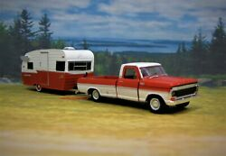 1967 Mercury M-100 + Shasta Airflyte Camper 1/64 Scale Collectible Display Model