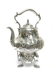 Gorgeous 19th Century Rococo R. Hennell Sterling Silver Tea Kettle Samovar