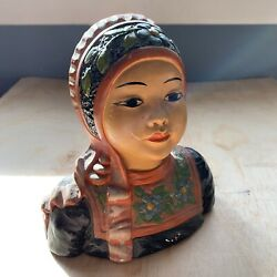 Chalkware Bust Of Asian Girl By Leon Fighiera, Esther Hunt Contemporary