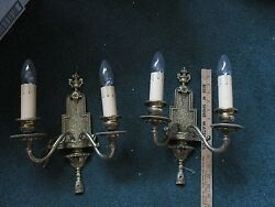 Pair Brass Electric Wall Sconces Double Armed Double Bulb Nice Detail Ornate
