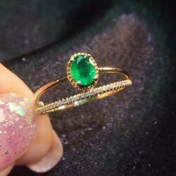 2.20ct Oval Cut Green Emerald Diamond Vintage Engagement Ring 14k Yellow Gold Fn