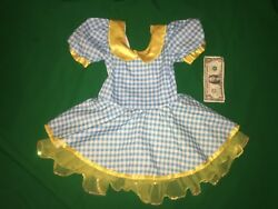 Kids Dance Costume Blue Gingham Dorothy Wizard Of Oz Dress Art Stone Size SC