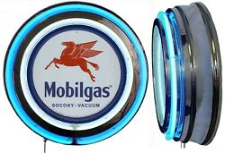 Mobil Gas Socony Vacuum Sign Neon Sign Blue Neon Chrome Shell No Clock