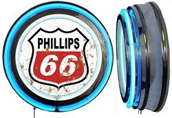 Phillips 66 Logo In A Distressed Rusty Looking Sign Neon Sign Blue Neon No Clock