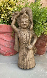 17th Ancient Marble Stone Hand Carved Hindu Goddess Blessing Sculpture Figure