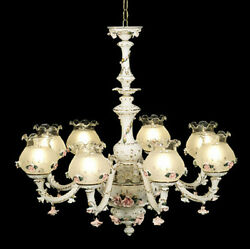 Capodimonte Made In Italy Chandelier 8 Lights/8 Closed Globes White Andgold Finish