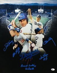 Steve Garvey Ron Cey Davey Lopes Bill Russell Signed 16x20 Photo Bas We53231
