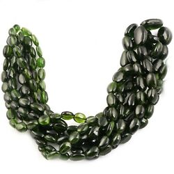 Natural Chrome Diopside Oval Smooth Gemstone Beads Strand 6-7x8-11mm 15.8 Inches