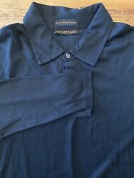 Metropolitan Lord And Taylor Mens Large Black Long Sleeve Polo -mercerized Cotton
