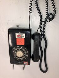 Vintage Black Bell System Western Electric 554 Bmp Rotary Dial Wall Phone 11/76