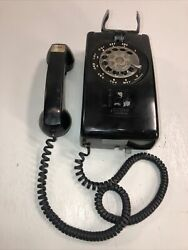 Vintage Black Bell System Western Electric 554 Bmp Rotary Dial Wall Phone R83-6