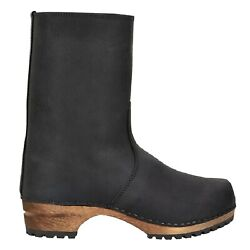 Sanita 'risotto' Oiled Leather Clog Boots In Black Art473222