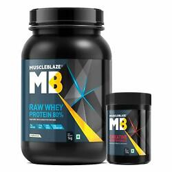 Muscleblaze Raw Whey 1kg,unflavoured With Creatine Monohydrate 100g, 2 Piece