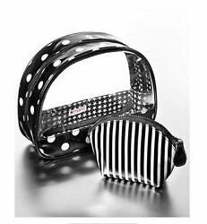 Macy#x27;s New Collection Black amp; White Polka Dot Striped Cosmetic Vinyl Bags Duo e* $12.99