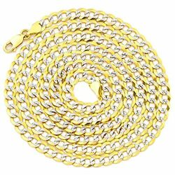 14k Yellow Gold 4.5mm Solid Pave Two-tone Curb Chain Necklace 18 To 26