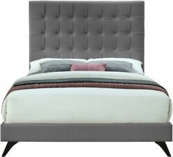 Contemporary Bedroom Furniture Gray Velvet 1p Full Size Bed Deep Button Tufting