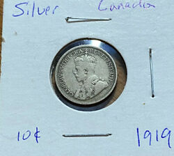 1919 Canada Ten 10 Cent Silver Dime Circulated Canadian George V Coin
