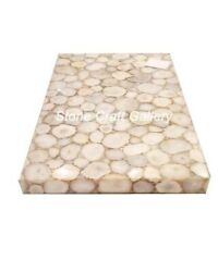 48 X 30 White Agate Coffee Table Top Natural Stones Handmade Work Home Decor