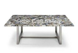 48 X 30 Agate Coffee Table Top Natural Stones Art Handmade Work Home Decor