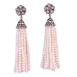 Natural 5.77ct Pave Diamond Sterling Silver Pearl Beaded Tassel Earrings Gold