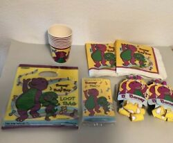 Barney 48 Pc Lot Paper Birthday Party Goods Invitations Cups Napkins Blowers