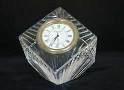 Waterford Crystal Glass Meridian Cube Desk Clock Paperweight Works New Battery