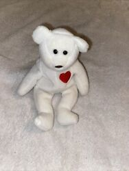 1993 Retired Ty Beanie Baby White Valentino Bear, No Hang Tagbrown Nose,mint Pvc