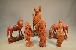 Early Lot Of 6 Antique Chinese Wood Carvings Figures And Horses. Excellent Work