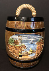 """Rare Hershey """"1981 Mold 3d Rural Scene Cookie Jar Canister With Lid Barrel Style"""