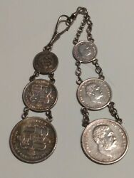 Set Of 1883 Hawaii Silver Coin Watch Fobs