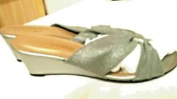 MAGDESIANS SILVER PEWTER EVENING SLIP ON MULES SANDAL SIZE 7M 2 INCH WEDGE HEEL $13.00