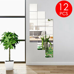 12x Mirror Tiles Wall Stickers Square Self Adhesive Decor Stick On Art Home Us