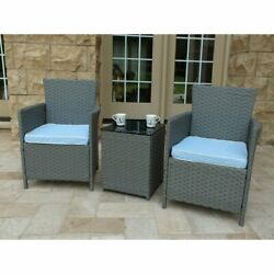 Home Outdoor Graden Balcony 3 Piece Rattan Seating Group With Cushions Set