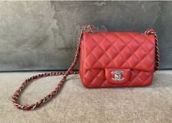 CHANEL Classic Square Mini Flap Quilted Red Bag $4995.00