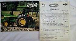 And03976 John Deere 40-80 Hp Tractor Sales Brochure And Quote 2040 2240 2440 2640 2840