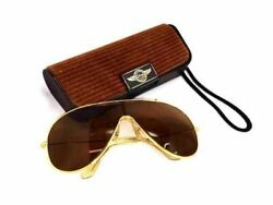 Vintage Bausch And Lomb Wings Arista Shield Aviator Sunglasses 273794 Gold Brown