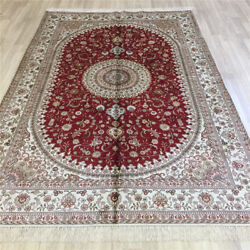 Yilong 6'x9' Medium Hand-woven Silk Rug Traditional Floral Red Carpet L071c