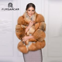 Winter Women Real Gold Fox Fur Coat With Stand Collar Female Genuine Fur Jacket