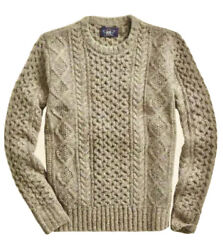 Rrl Aran Irish Cable-knit Donegal Wool Sweater Men's Xl Extra-large