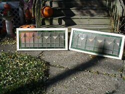 Two Antique Stained Glass Transom Window 44 X 19 Circa 1920and039s