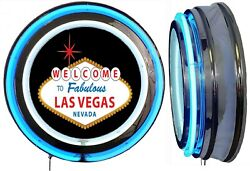 Welcome To Fabulous Las Vegas Nevada Sign Neon Sign Blue Outside Neon No Clock