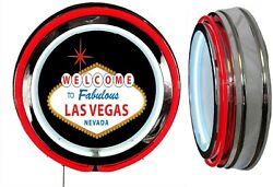 Welcome To Fabulous Las Vegas Nevada Sign Neon Sign Red Outside Neon No Clock