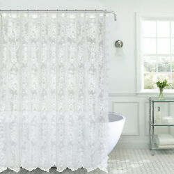 Kate Aurora Country Farmhouse Shabby Chic Lace Shower Curtain - Assorted Colors