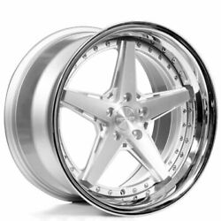 20 Staggered Rennen Wheels Csl 7 Silver With Chrome Lip Rims Set B14