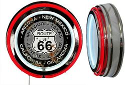 Us Route 66 States Distress Rust Look Sign Neon Sign Red Outside Neon No Clock